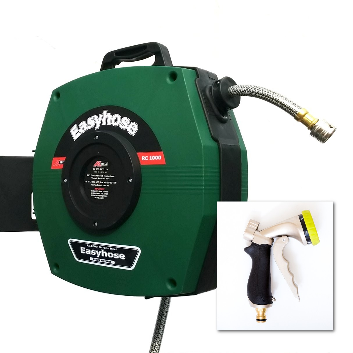 Easyhose Garden Hose Reel with Premium Trigger Spray